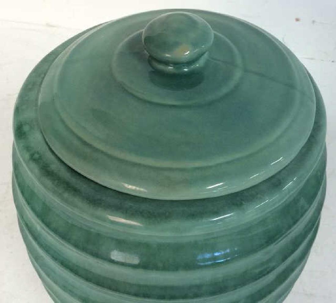 American Art Pottery Aqua Cookie Jar - 3