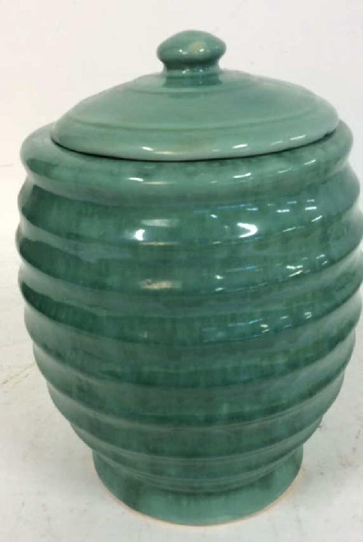 American Art Pottery Aqua Cookie Jar - 7