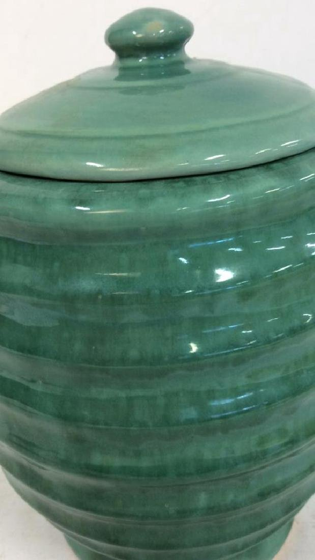 American Art Pottery Aqua Cookie Jar - 8