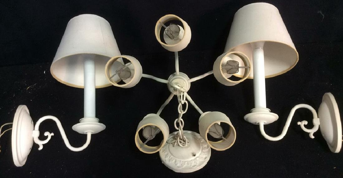 Group Lot of 3 VintageWhite  Lighting Fixtures