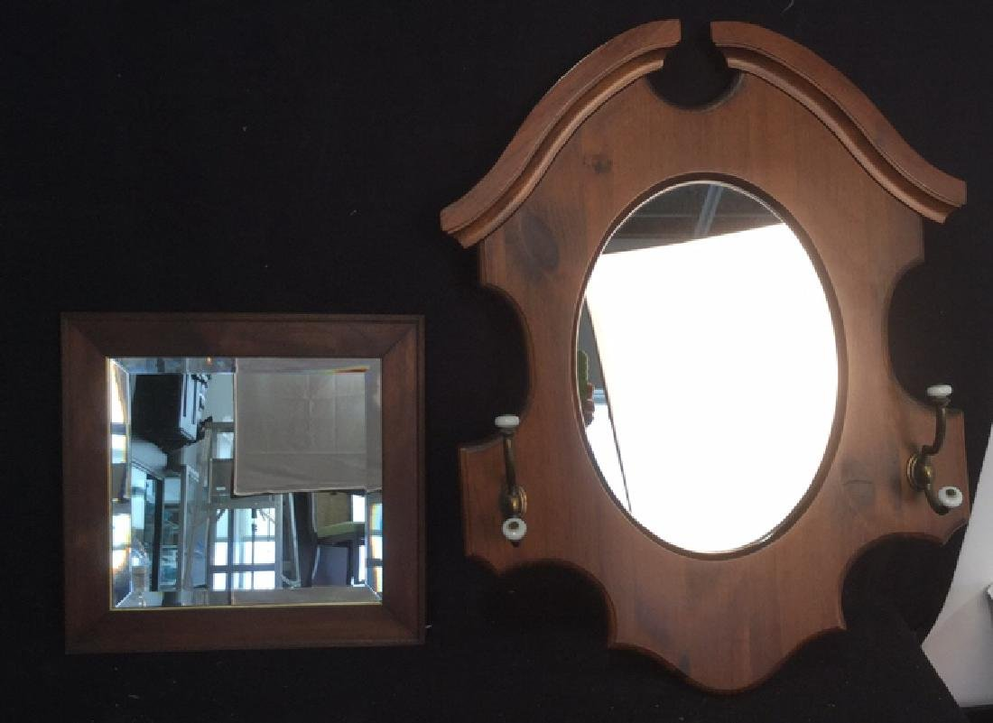 Two Vintage Wood Wall Mirrors - 2