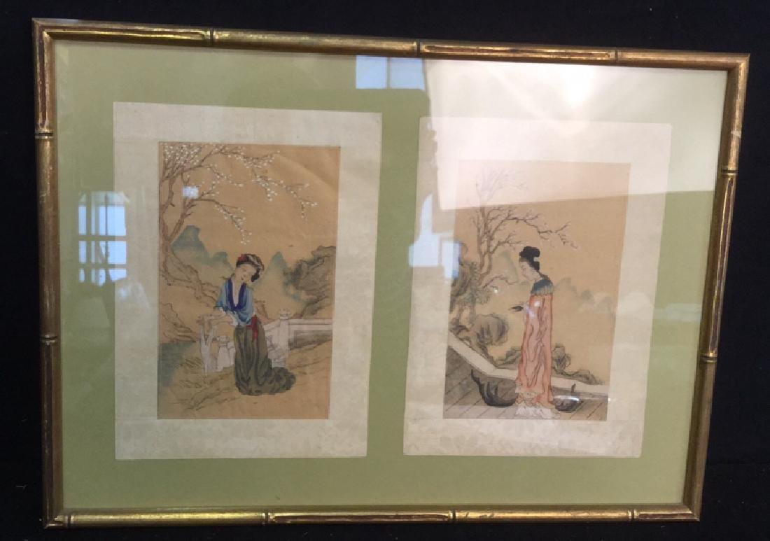 Two Japanese Watercolors In One Frame - 2