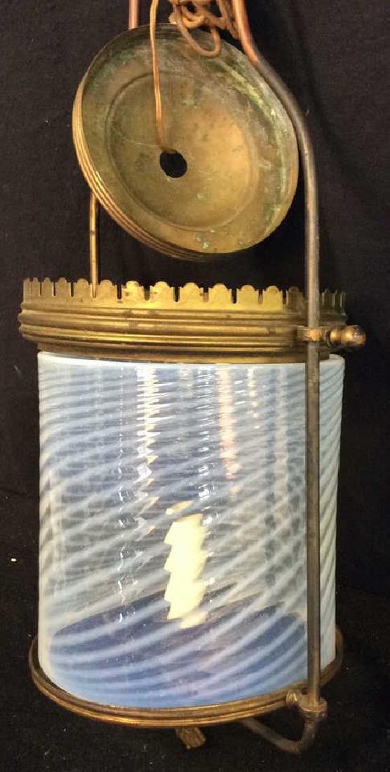 Antique Handblown Milk Glass Brass Hanging Fixture