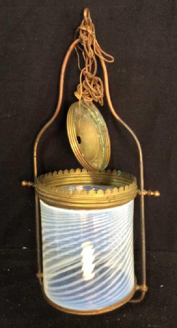 Antique Handblown Milk Glass Brass Hanging Fixture - 2