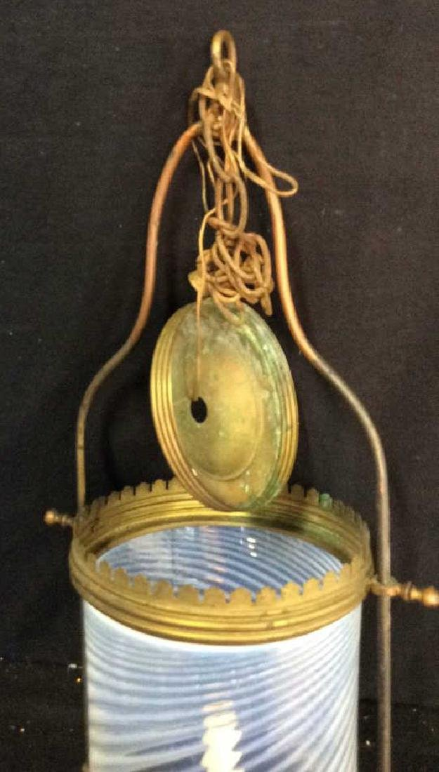 Antique Handblown Milk Glass Brass Hanging Fixture - 3