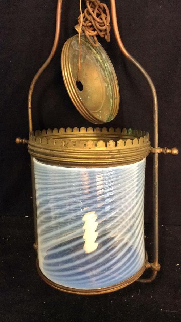 Antique Handblown Milk Glass Brass Hanging Fixture - 4