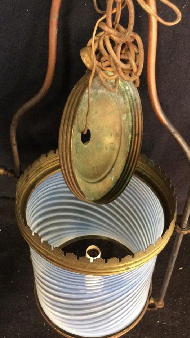Antique Handblown Milk Glass Brass Hanging Fixture - 5
