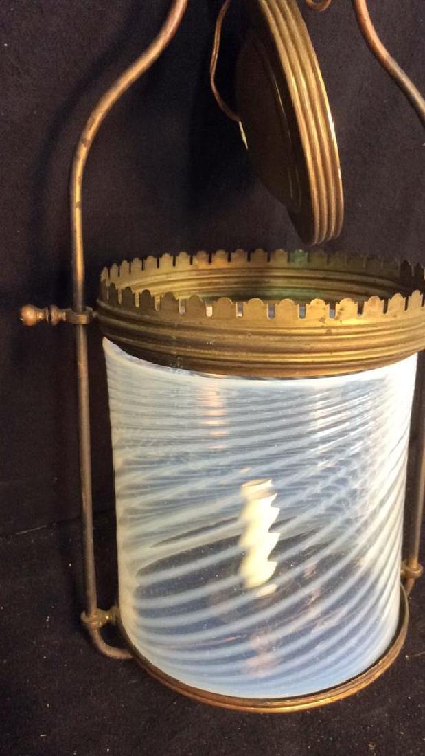 Antique Handblown Milk Glass Brass Hanging Fixture - 7