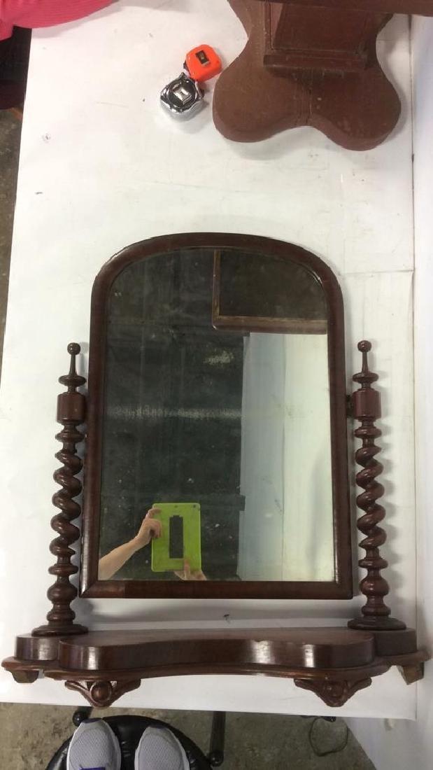 Antique Flame Mahogany Dresser Top Swivel Mirror - 10