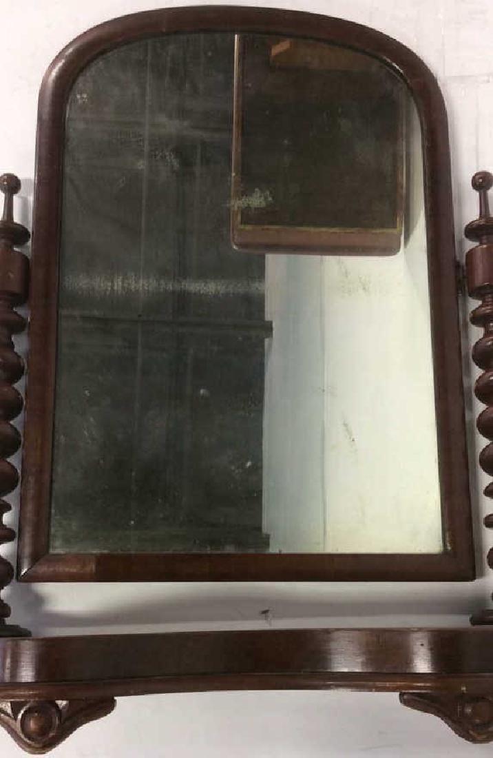 Antique Flame Mahogany Dresser Top Swivel Mirror - 5
