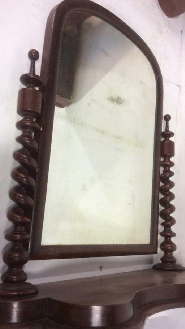Antique Flame Mahogany Dresser Top Swivel Mirror - 7
