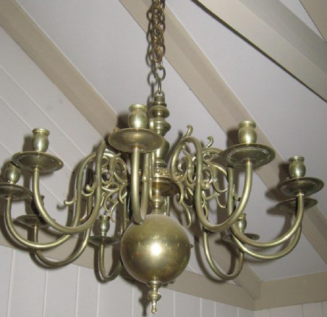 Antique 18th C Period Brass Chandelier 8 Arms