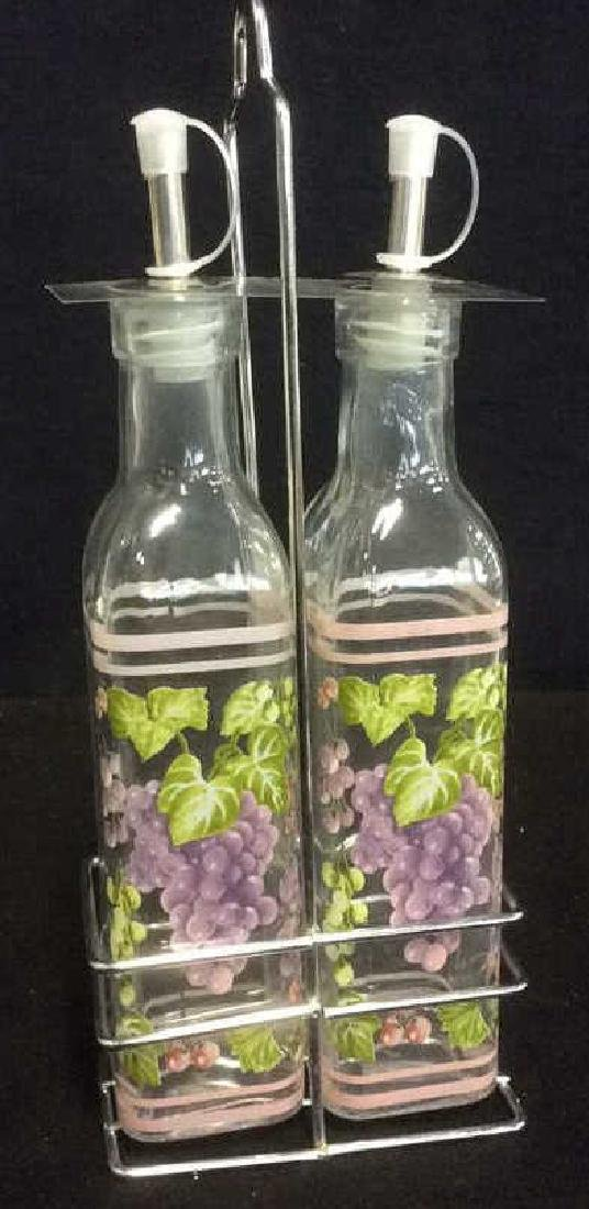 Oil and Vinegar Set Grape Motif New