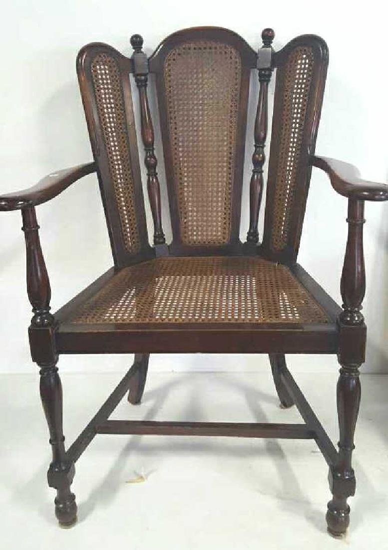 Antique Mahogany Caned Butterfly Armchair - 10