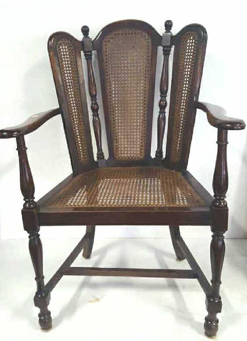 Antique Mahogany Caned Butterfly Armchair
