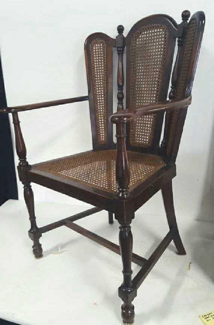 Antique Mahogany Caned Butterfly Armchair - 2