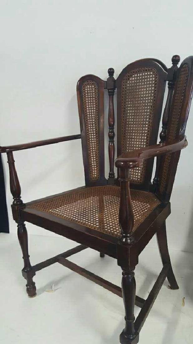 Antique Mahogany Caned Butterfly Armchair - 3