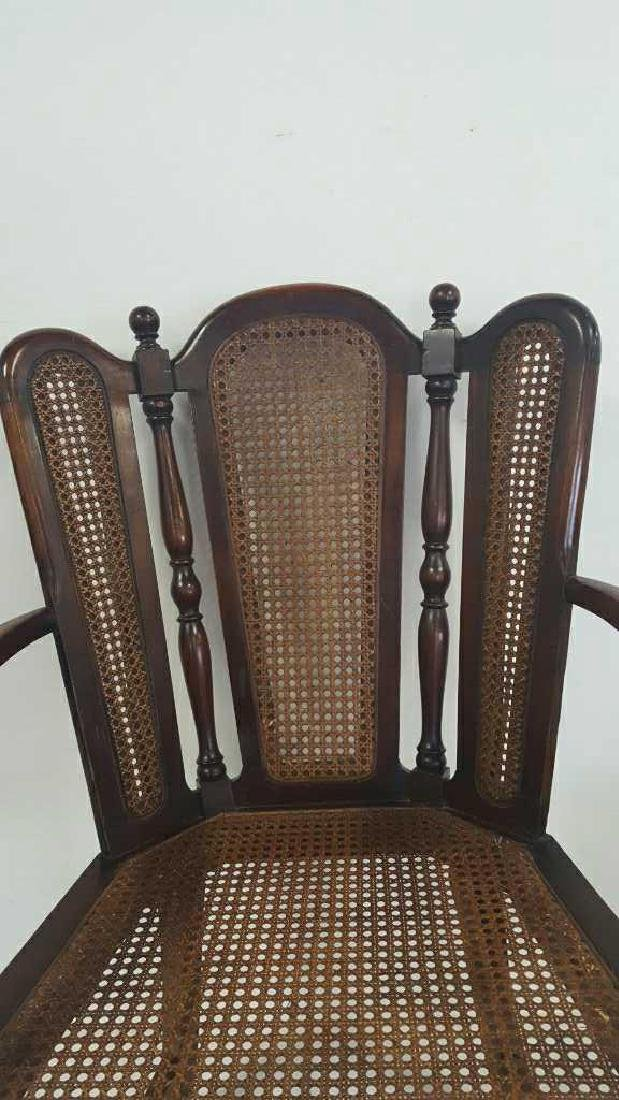 Antique Mahogany Caned Butterfly Armchair - 4