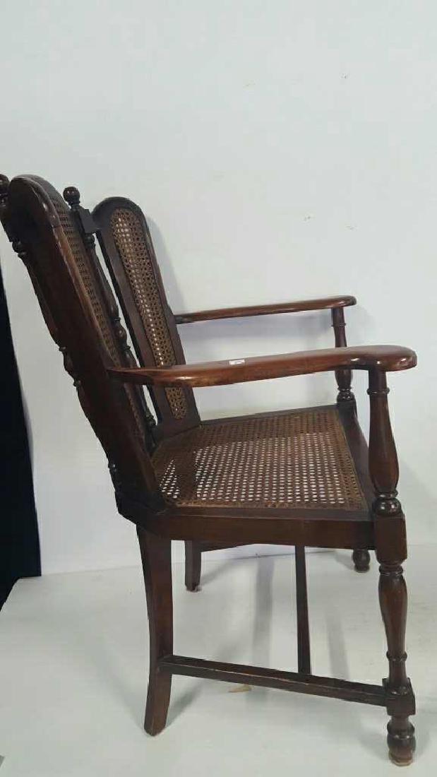 Antique Mahogany Caned Butterfly Armchair - 5