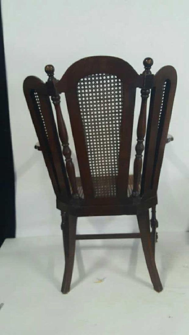 Antique Mahogany Caned Butterfly Armchair - 6