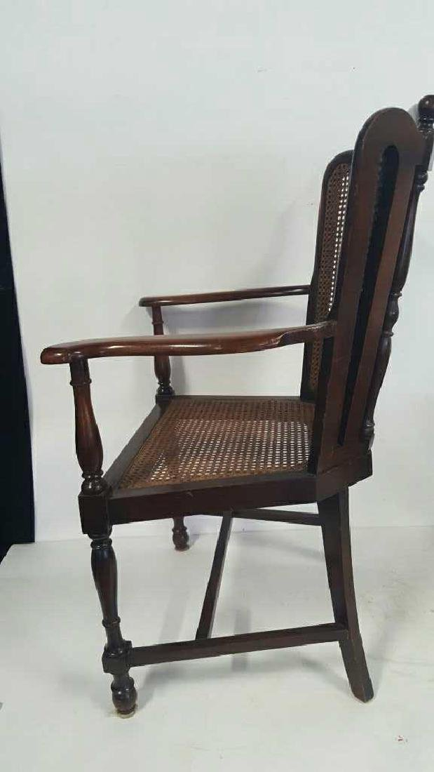 Antique Mahogany Caned Butterfly Armchair - 7