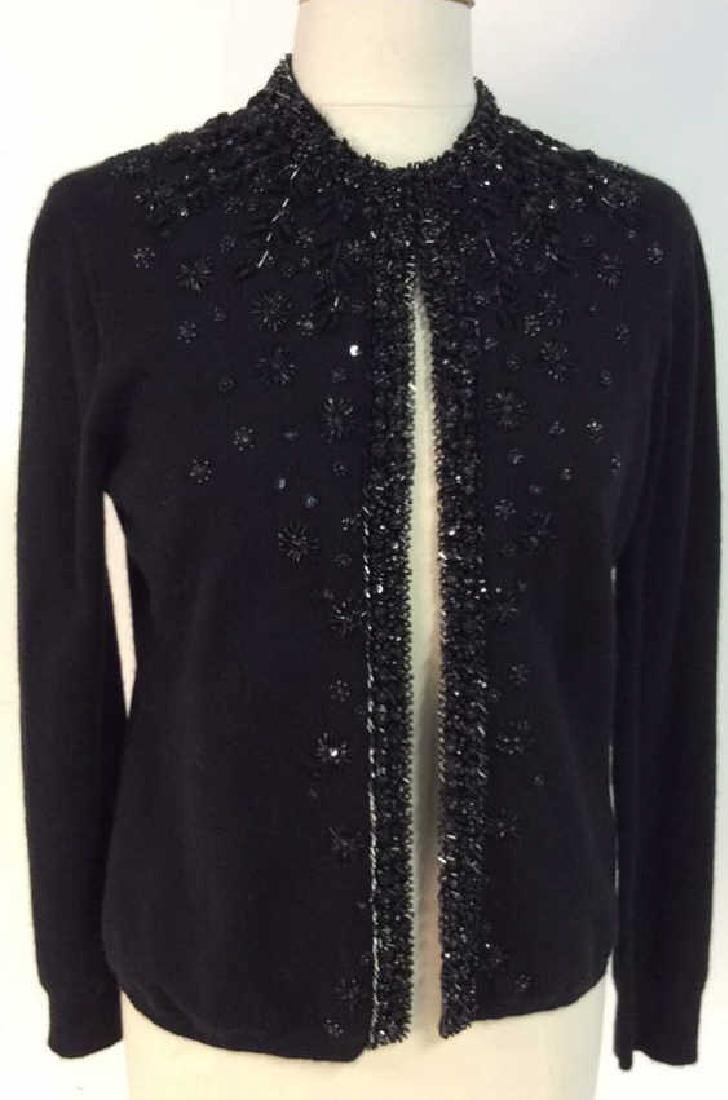 Black Cashmere Sweater Intricate Beadwork - 2
