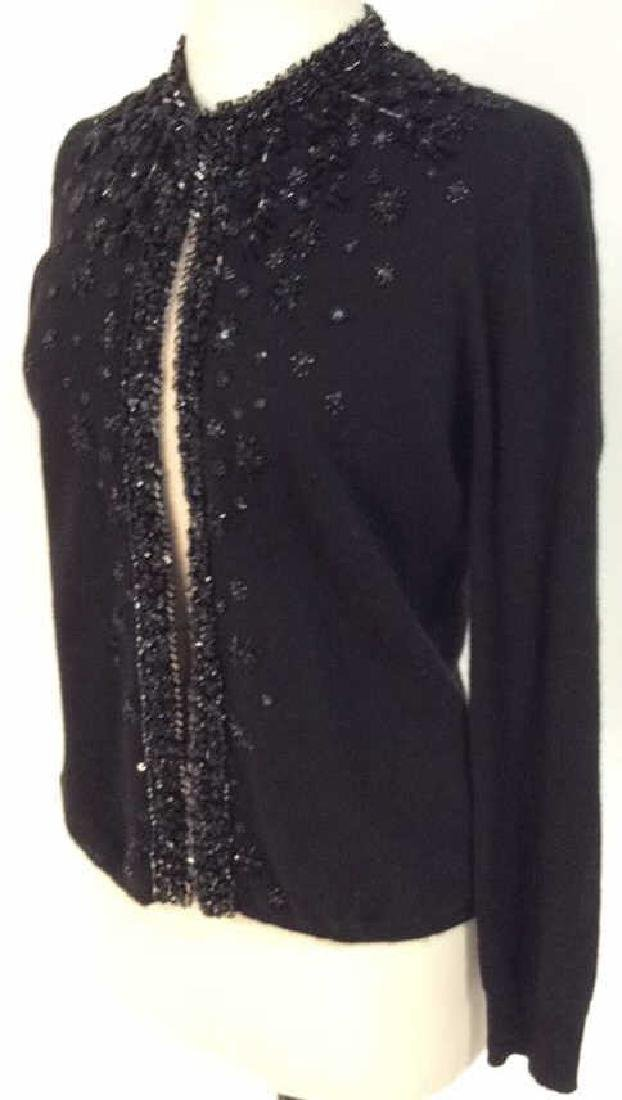 Black Cashmere Sweater Intricate Beadwork - 3