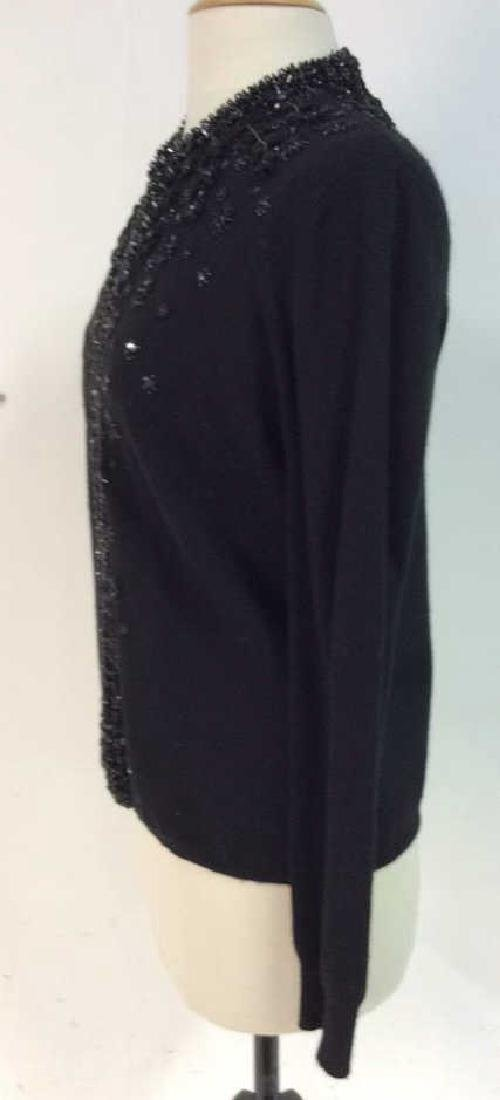Black Cashmere Sweater Intricate Beadwork - 4