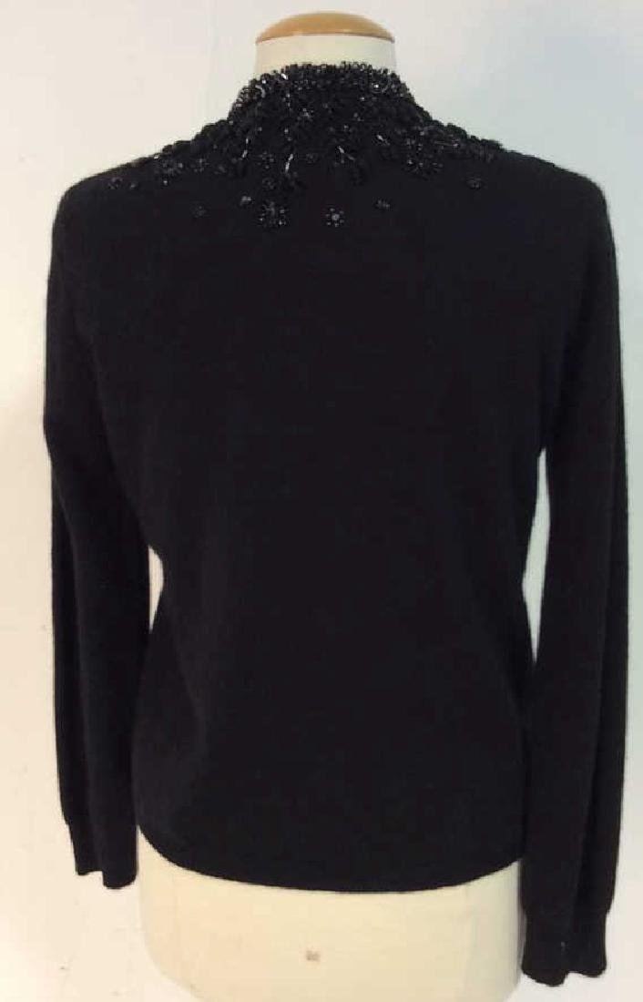 Black Cashmere Sweater Intricate Beadwork - 5