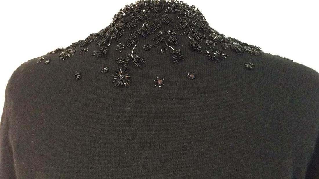 Black Cashmere Sweater Intricate Beadwork - 6