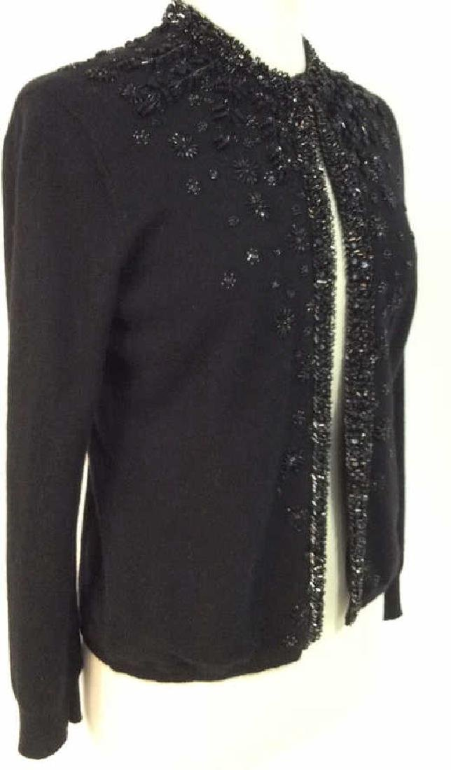 Black Cashmere Sweater Intricate Beadwork - 7