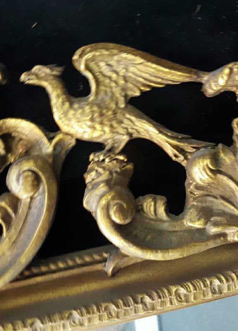 Antique Gold Leaf Carved Birds Mirror - 6