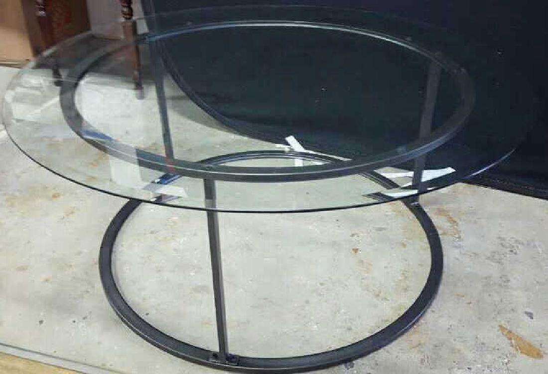 Glass Top Metal Coffee Table - 2