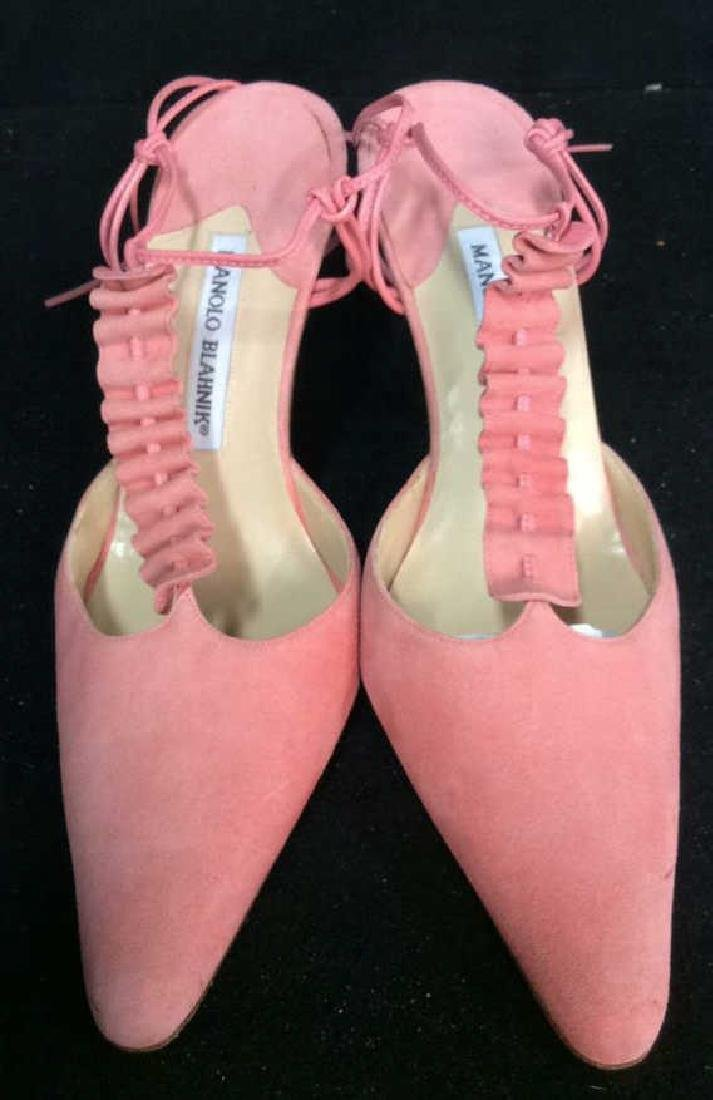 Pair Manolo Blahnik Pink Suede Shoes - 2