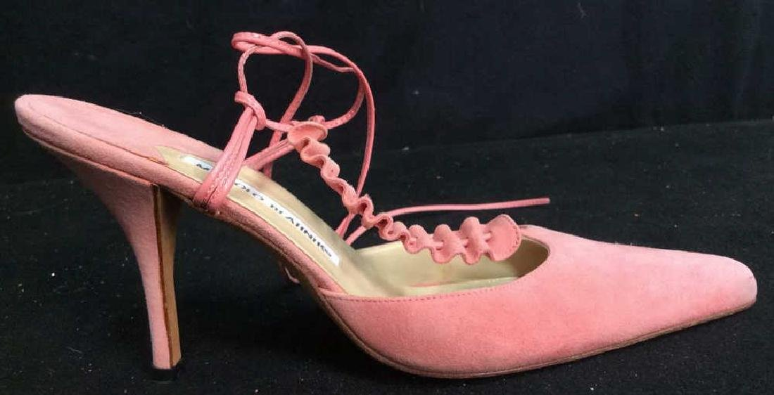 Pair Manolo Blahnik Pink Suede Shoes - 5