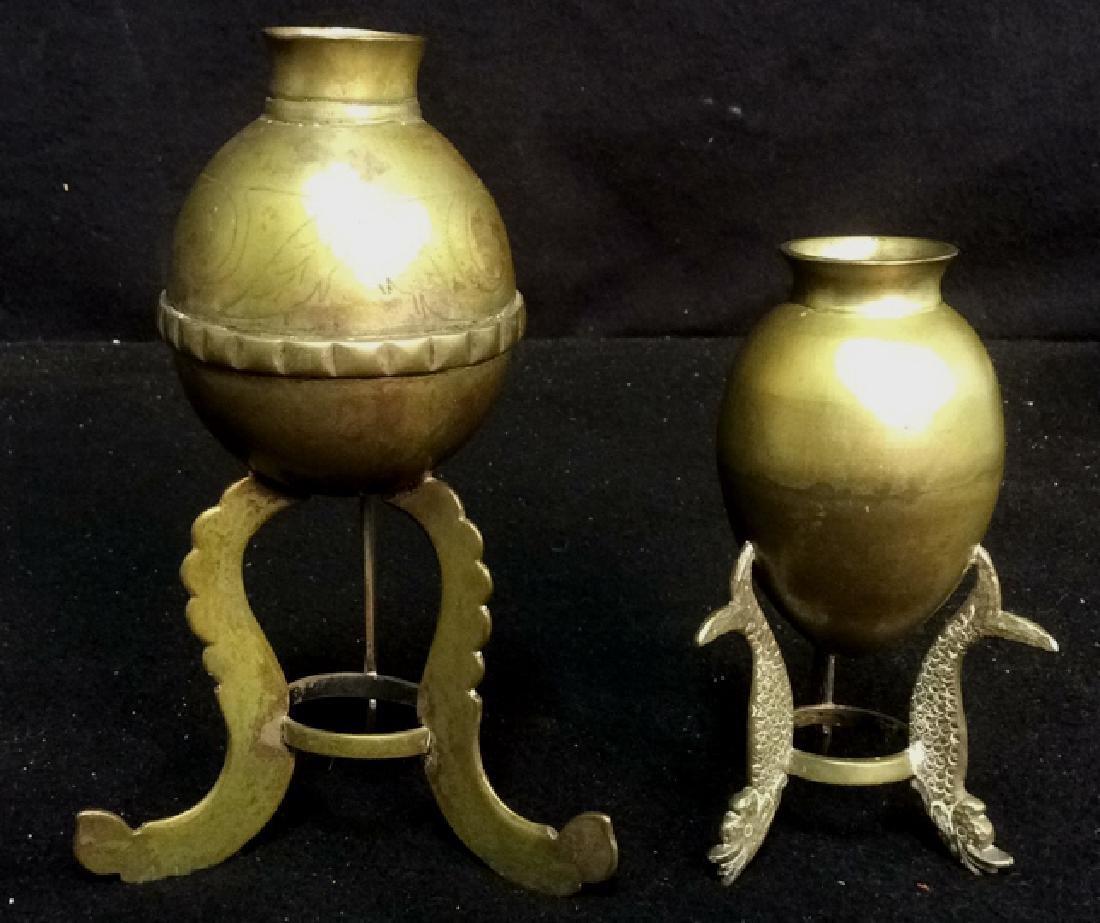 Brass 3-legged Miniature Vintage Vases Set of 2