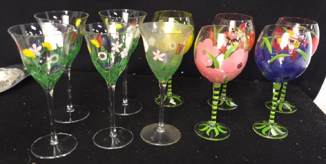 Assortment Of Hand painted Wine Glasses