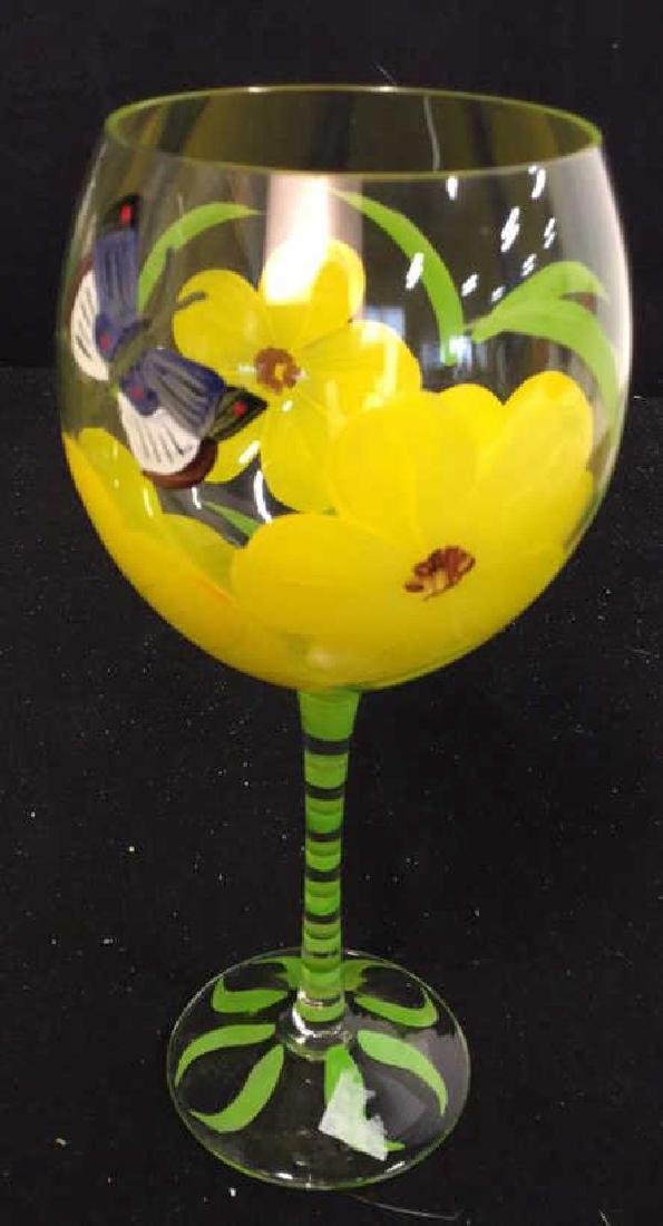 Assortment Of Hand painted Wine Glasses - 6
