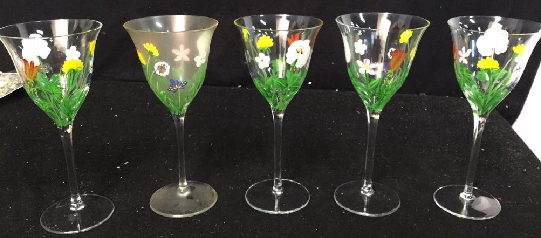 Assortment Of Hand painted Wine Glasses - 7
