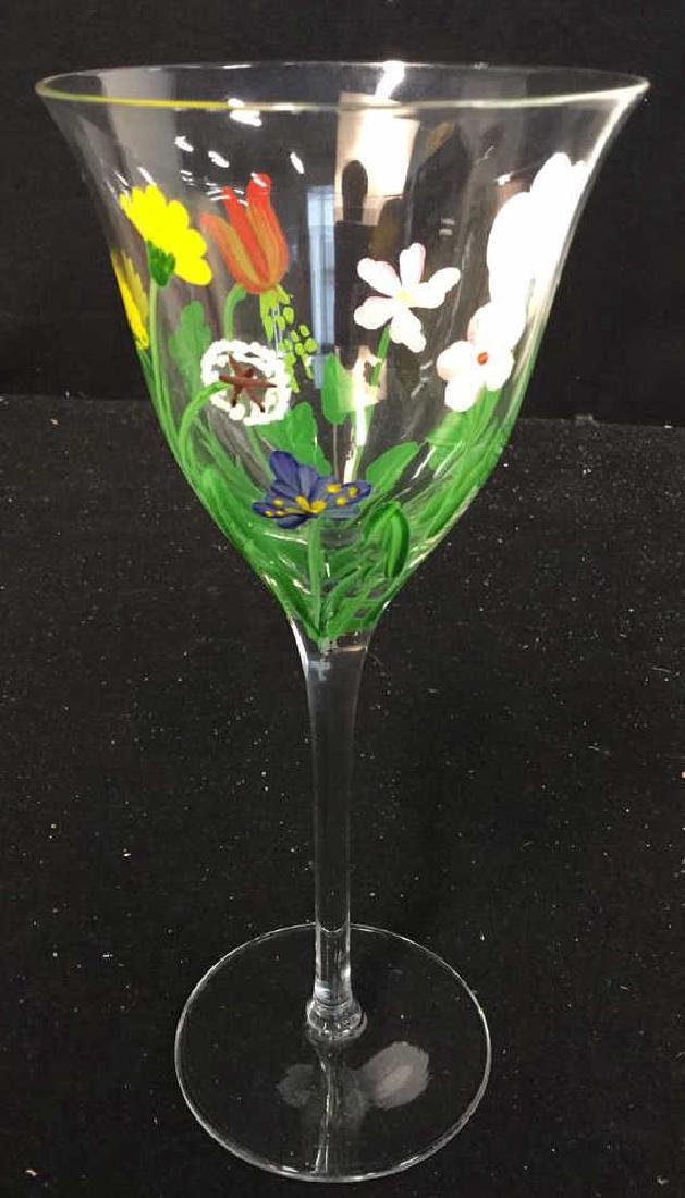 Assortment Of Hand painted Wine Glasses - 8