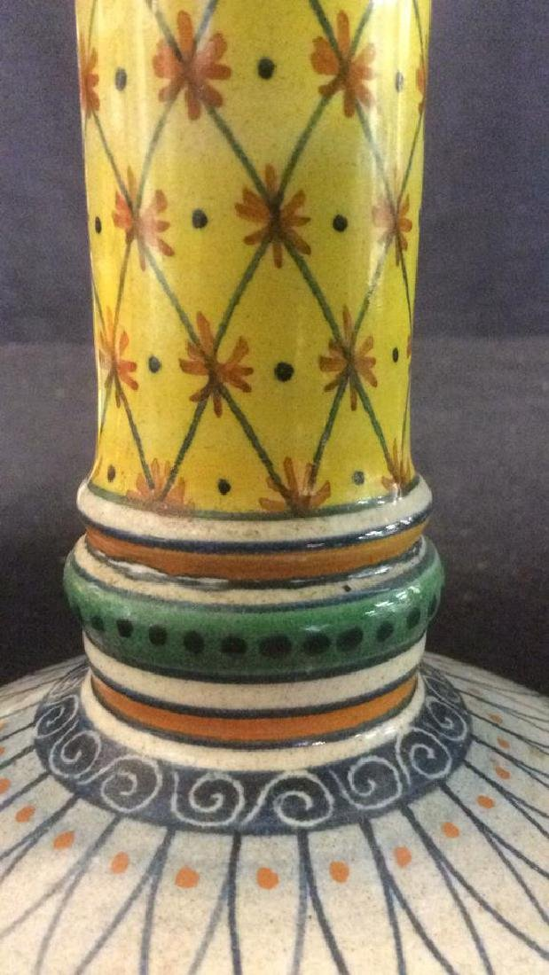 Bright Handpainted Pottery Candlesticks - 5