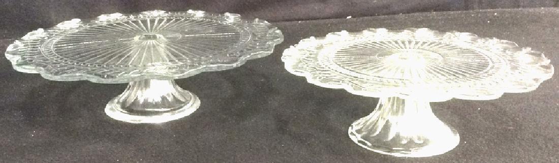 Vintage Pressed Glass Cake Pedestal Set of 2
