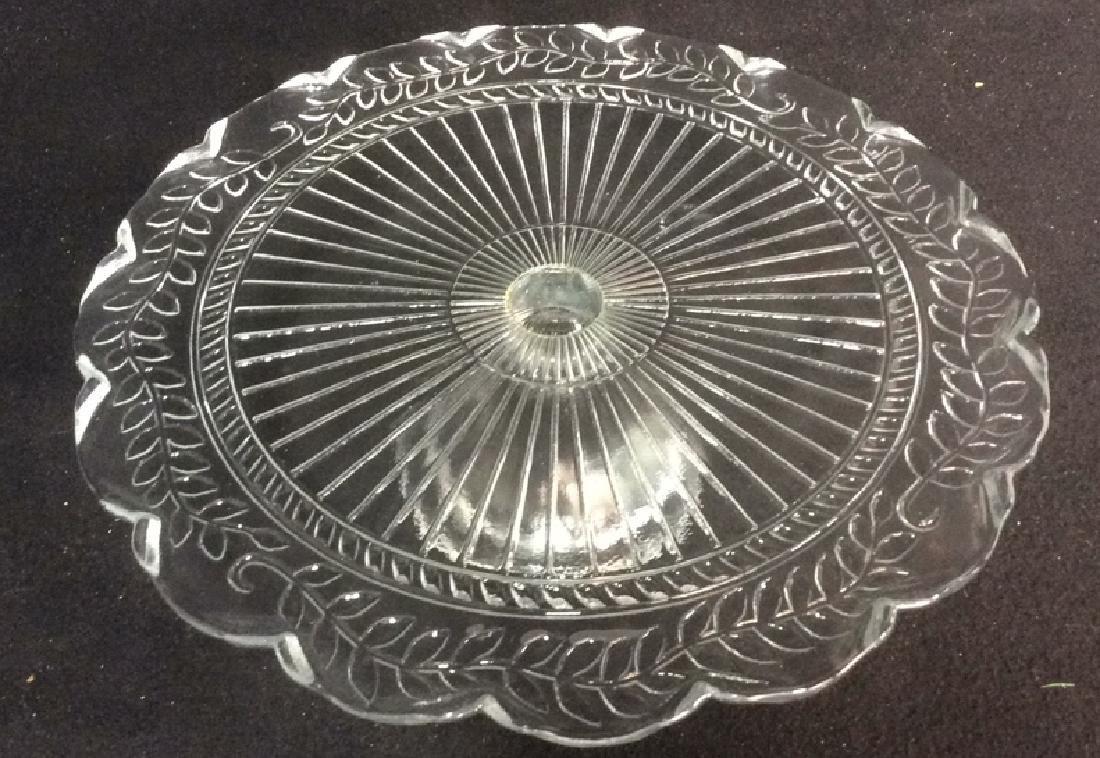 Vintage Pressed Glass Cake Pedestal Set of 2 - 2