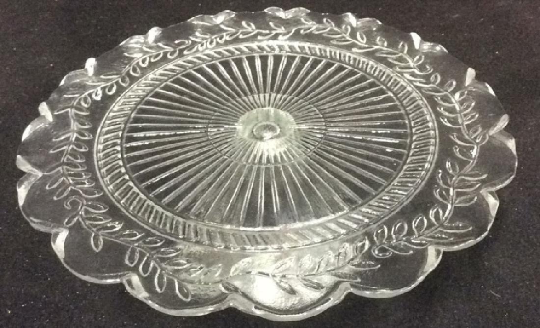 Vintage Pressed Glass Cake Pedestal Set of 2 - 4