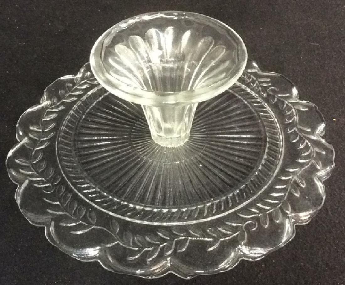 Vintage Pressed Glass Cake Pedestal Set of 2 - 6