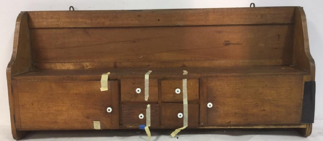Antique Country Pine Hanging Cupboard with Drawers - 2