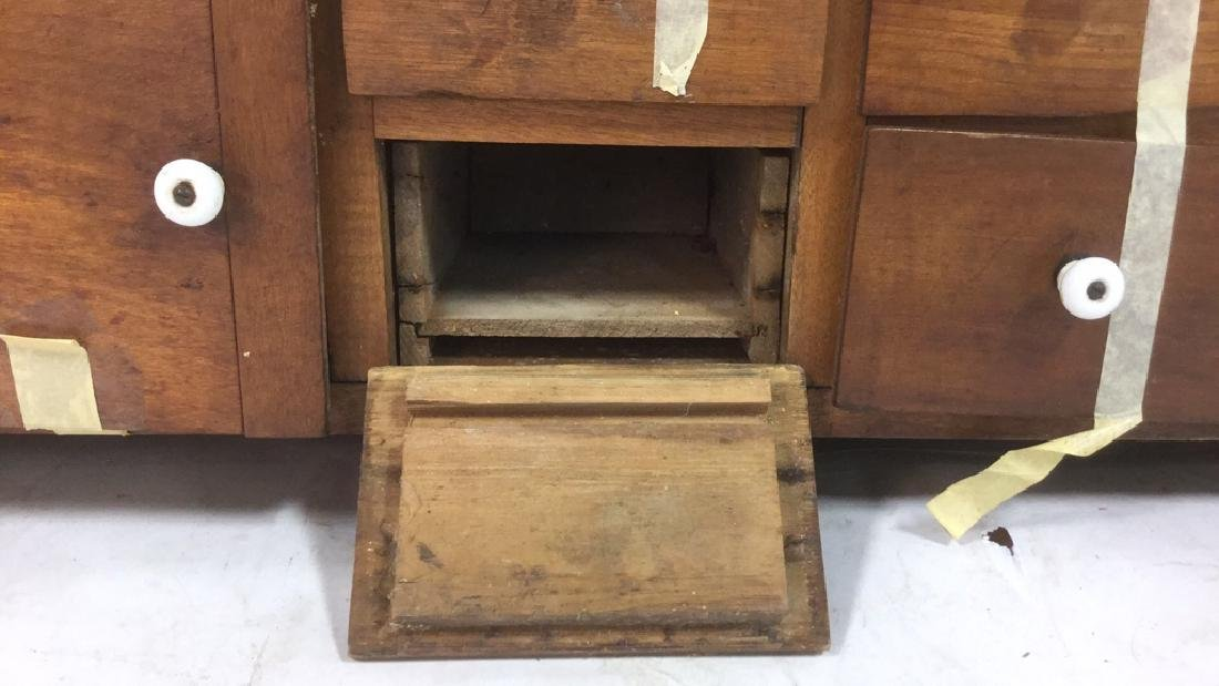 Antique Country Pine Hanging Cupboard with Drawers - 4