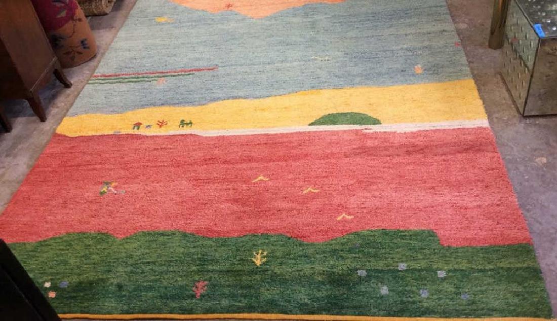Wool Folk Art Scene Carpet - 2