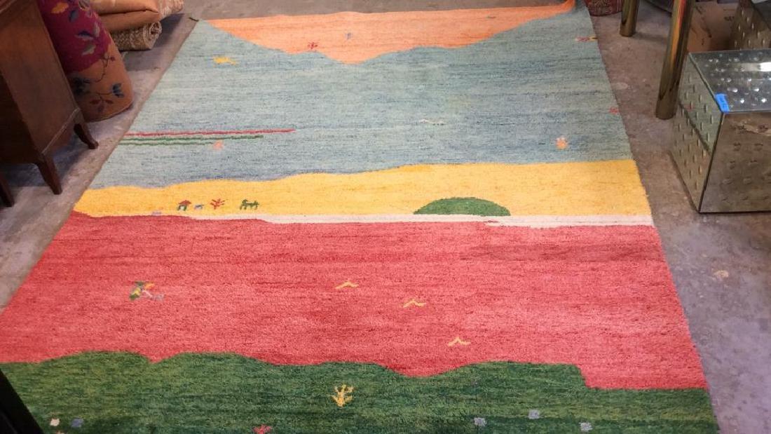 Wool Folk Art Scene Carpet - 3