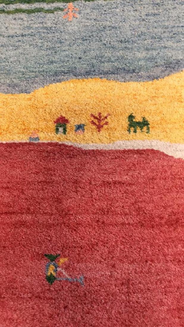 Wool Folk Art Scene Carpet - 5